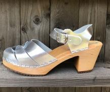 Silver Jessica High Heel Clogs