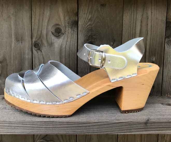 Silver Jessica High Heel Clogs