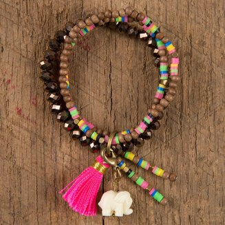 129:- (249:-) Brown Bead Lucky Elephant Bracelet Features a mixture of wood, multicolored and faceted glass beads accented with a sweet lucky elephant charm, beaded charms and a neon pink hassle.
