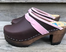 Brown oil High Heel Mountain Clogs
