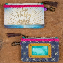 "149:- ""Live Happy"" Indigo Blue ID Pouch"
