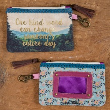 "149:- ""One kind word"" Indigo Blue ID Pouch"