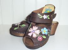 Brown Oil High Heel Emma Sandal Clogs