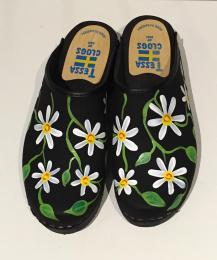 Black Oil Daisy Clogs