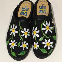 Black Oil Daisy Clogs