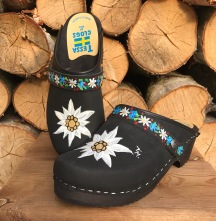 Black Oil Edelweiss Clogs