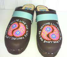 """Brown Oil """"LIVE THE LIFE.."""" Clogs"""