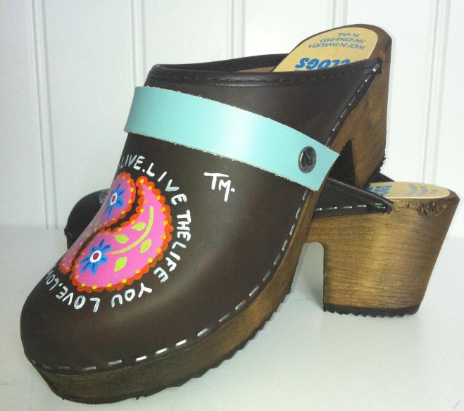 """Brown Oil """" LIVE THE LIFE.."""" High Heel Clogs"""