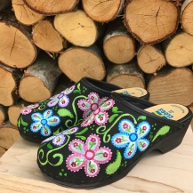 Black Oil Flowerpower Soft Clogs