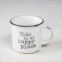 Happy Place Camp Mug Dishwasher and microwave safe. Ceramic