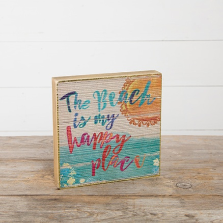 249:-Beach Is Happy Place Bungalow Box Sign Can sit or hang.Wood