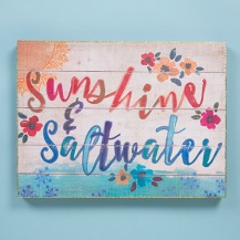 399:-Sunshine & Saltwater Bungalow Art Can sit or hang. Wood