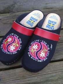 "Black Oil ""LIVE THE LIFE"" Clogs"