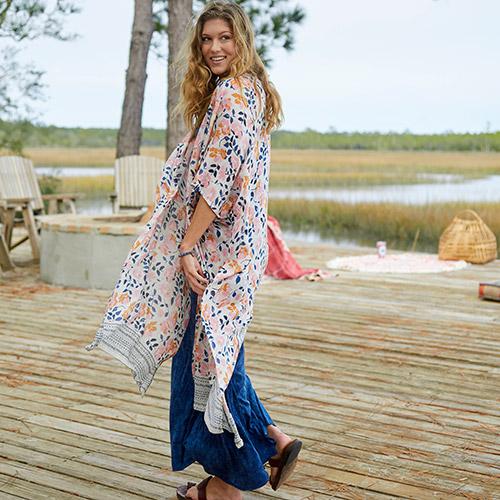499:- Rust Blooms Kelsey Kimono Onesize