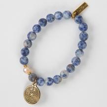 Blue Stone Round Charm Liv-N-Grace Bracelet.Blue hematite. Pris: 249:-
