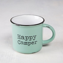 """150:- """"Happy Camper"""" Camp Mug This vintage mint green """"Happy Camper"""" camp mug will have everyone feeling nostalgic about special times spent with family and friends on campng trips! The generous size is perfect for coffee, soup or morning oatmeal ceramic."""