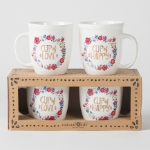 "150:- (300:-) ""Cup of Happy"" Ceramic Mug Set.ceramic"
