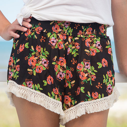 279:- Black Blooms Lounge Shorts. Cotton fringe trim.100% rayon Size: S M & L
