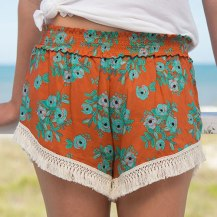 279:- Rust Blooms Lounge Shorts. Cotton fringe trim.100% rayon Size: S M & L