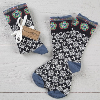 149:- Black & Cream Boho Socks