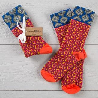 149:- Garnet & Royal Boho Sock