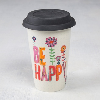 """99:- (199:-)Thermal Mug with """"Be Happy"""" Double-walled ceramic travel mug with silicone lid. Dishwasher and microwave safe, remove lid before microwaving"""