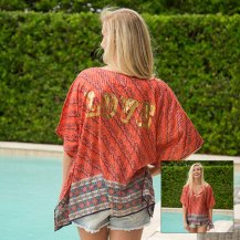 699:- Love Tinsel Kaftan V-neck with tassels and metallic gold printing across back. 100% cotton Onesize