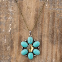 199:-Turquoise Pendant Necklace 28in Chain faceted rhinestone and a hidden message make this custom pendant extra special. Sentiment: Do what you Love