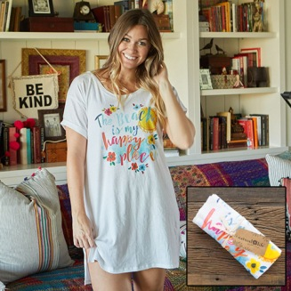 "399:-Beach Happy Place White Night Shirt With its relaxed t-shirt cut and super soft cotton fabric, ""The Beach is my Happy Place"" nightshirt is sure to keep you comfy and cool. Comes rolled up and tied with a ribbon for easy gifting. 100% cotton Onesize"