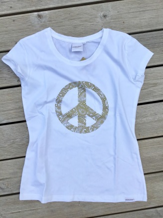 399:- Gold Peace Tee size: S M L &XL