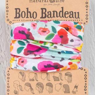129:-Pink Floral Polka Dot Boho Bandeau