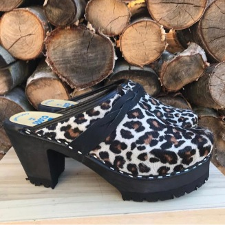 Leopard High Heel Mountain Clogs