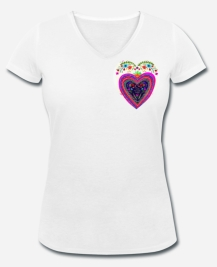 399:- Heart Tee 100% organic cotton size: S, M, L & XL (front)