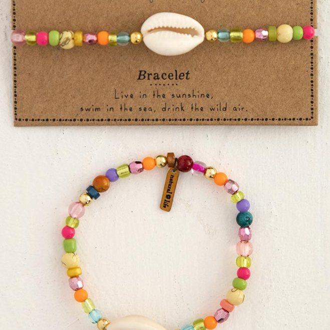 159:-Shell Beaded Charm Bracelet
