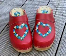 Red Flower Heart Clogs