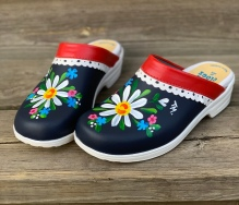 Red/Blue Lace Malin Soft Clogs