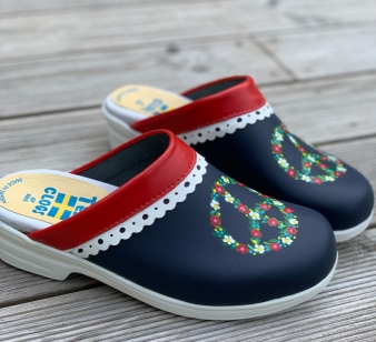 Red/Blue Lace Peaceflower Soft Clogs