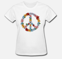 399:-Flower Peace sign Tee Size: S M L XL
