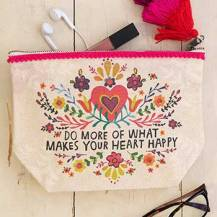 199:-Canvas Pouch Do More Heart Happy
